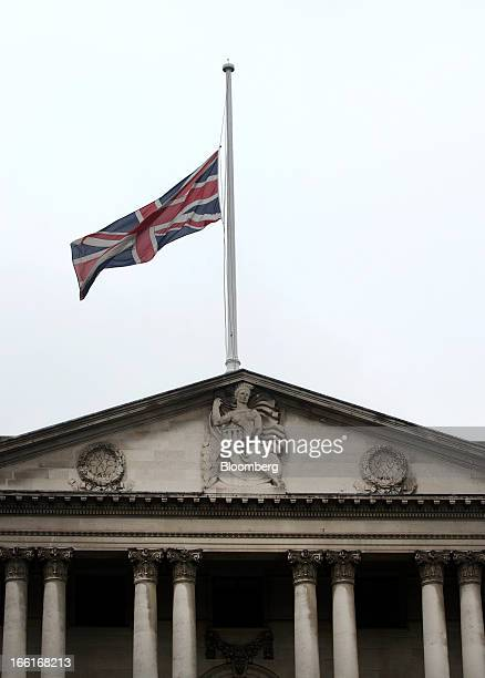 The British Union Jack flag flies at halfmast over the top of the Bank of England following the death yesterday of former UK Prime Minister Margaret...