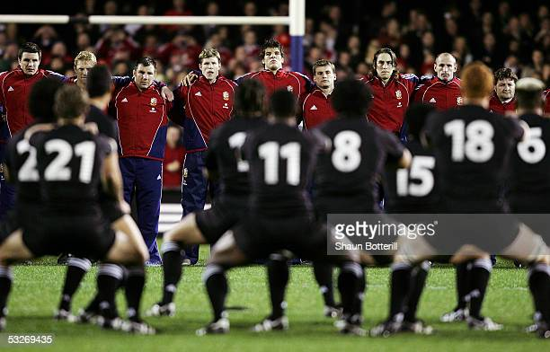 The Britsh Lions team face the Haka during the third test match between New Zealand and the British and Irish Lions at Eden Park on July 9 2005 in...