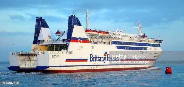 The Brittany Ferries vessel Barfleur leaving Poole Harbour Dorset