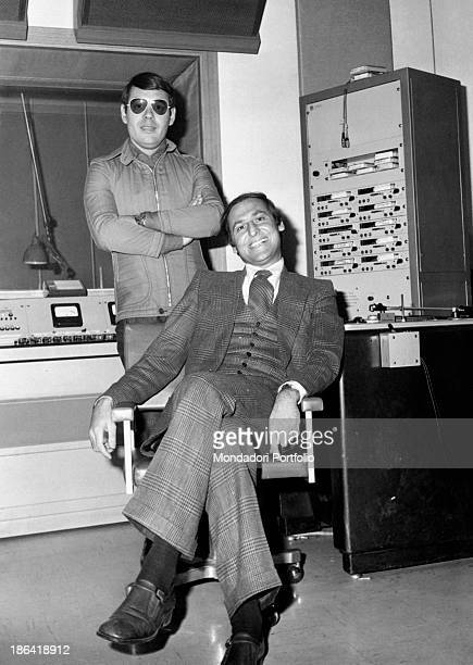 The broadcast presenters Renzo Arbore and Gianni Boncompagni take a pause during the radio broadcast Alto Gradimento the lucky radio broadcast...