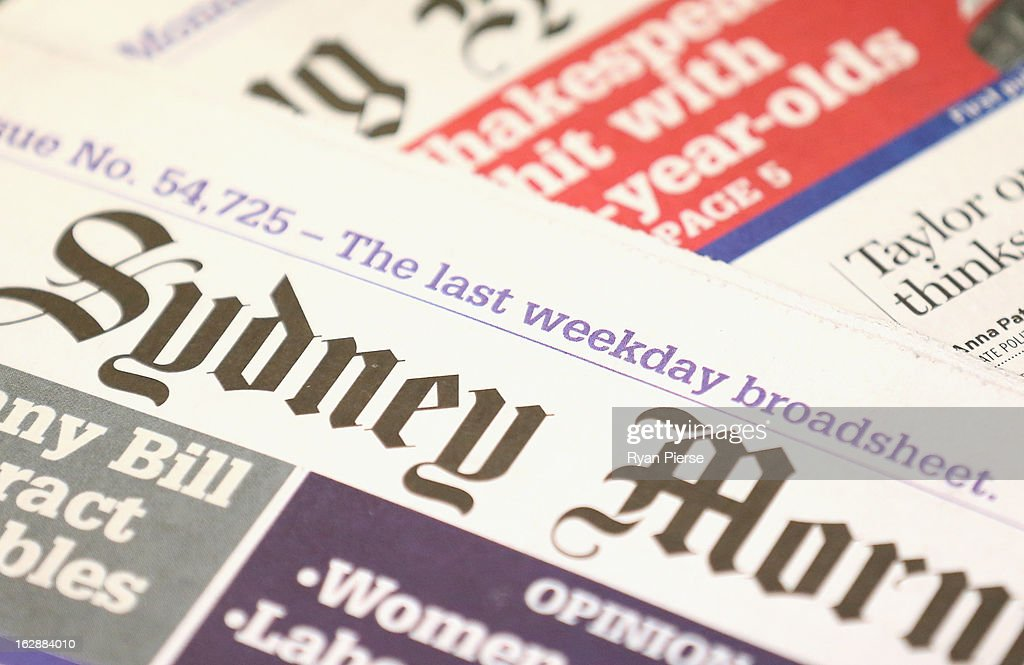The broadsheet format 'Sydney Morning Herald' newspaper is seen on display at a newsagency on March 1, 2013 in Sydney, Australia. Fairfax today published it's final broadsheet-sized Sydney Morning Herald and The Age newspapers, and will be switching to tabloid size as of Monday, 4 March 2013.
