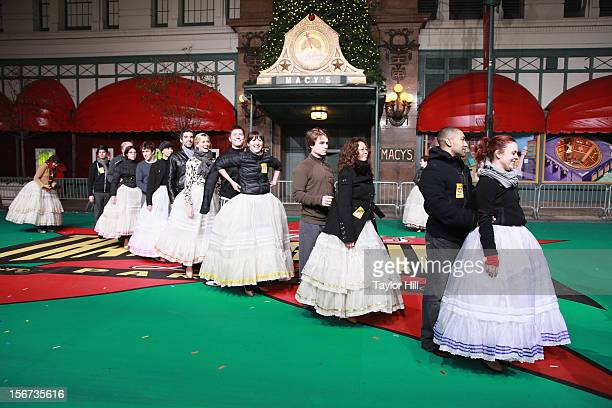 The Broadway cast of Cinderella performs at Day One of the 86th Anniversary Macy's Thanksgiving Day Parade Rehearsals at Macy's Herald Square on...