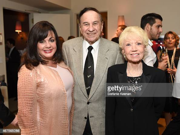The Broadway League Executive Director Charlotte St Martin songwriter Richard M Sherman and Elizabeth Sherman attend The Tony Awards celebration of...