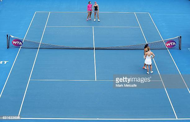 The broken net is seen which occured following the first serve in the Women's doubles singles final match between Gabriela Dabrowski of Canada and...