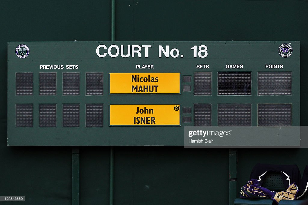 The broken score board during the Nicolas Mahut and John Isner match on Day Three of the Wimbledon Lawn Tennis Championships at the All England Lawn Tennis and Croquet Club on June 23, 2010 in London, England.