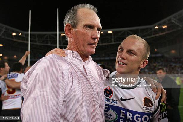 The Broncos' coach Wayne Bennett and captain Darren Lockyer celebrate after the NRL Grand Final between the Brisbane Broncos and Melbourne Storm at...