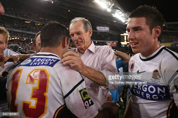 The Broncos' Wayne Bennett celebrates with his team after the NRL Grand Final between the Brisbane Broncos and Melbourne Storm at Telstra Stadium...