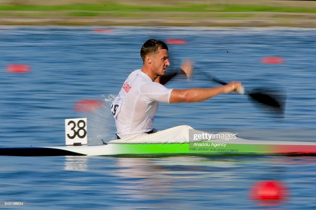 The bronz medalist Aleh Yurenia of Belarus in action during the men's K1 5000 m final race at the ECA Canoe Sprint European Championships 2016 in Moscow, Russia on June 26, 2016.