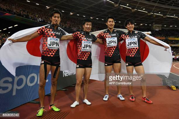 The bronze medal winning Japanese team of Japan's Shuhei Tada Shota Iizuka Yoshihide Kiryu and Kenji Fujimitsu celebrate after coming third in the...