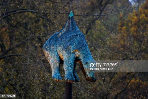 The bronze sculpture 'Unbearable' by the Danish artist Jens Galschiot featuring an polar bear impaled on an oil pipeline is on display at Rheinaue...
