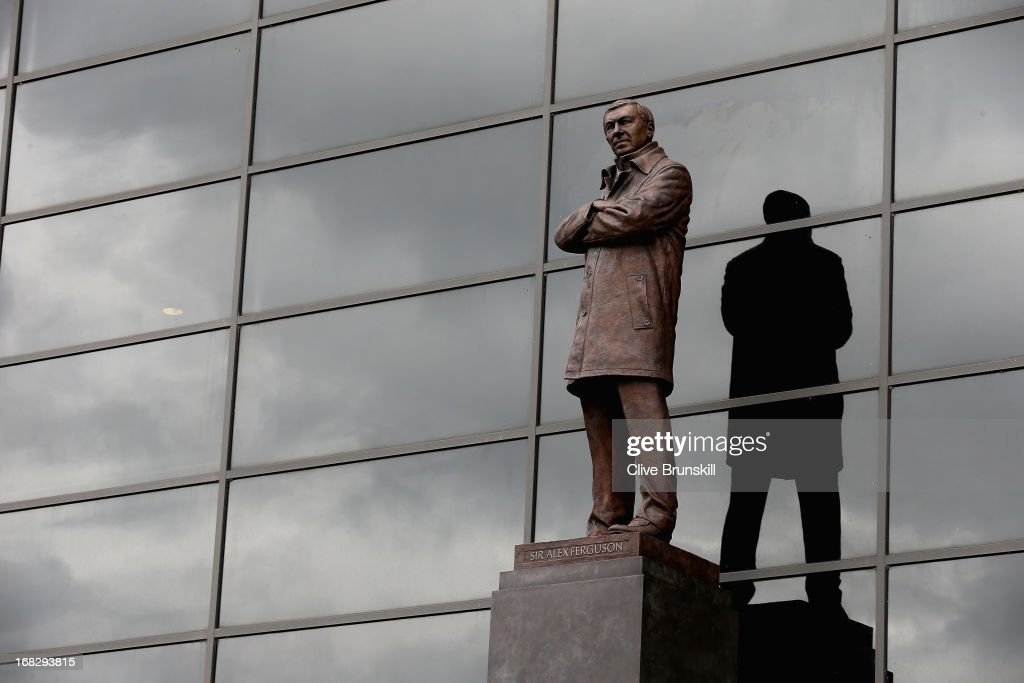 The bronze statue of Manchester United manager Sir <a gi-track='captionPersonalityLinkClicked' href=/galleries/search?phrase=Alex+Ferguson&family=editorial&specificpeople=203067 ng-click='$event.stopPropagation()'>Alex Ferguson</a> is pictured on the day he announced his retirement as club manager on May 8, 2013 in Manchester, England.