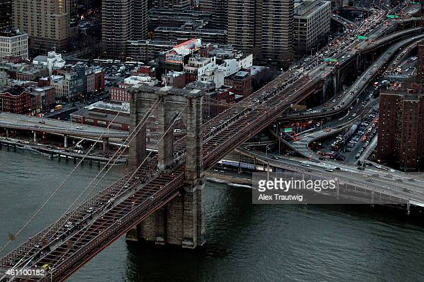 The Brooklyn Bridge is seen from above on December 30 2014 in New York City