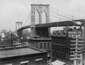 The Brooklyn Bridge over the East River New York between the boroughs of Brooklyn and Manhattan shortly after its completion when it was the world's...