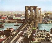 The Brooklyn Bridge spanning the East River New York Handcolored lantern slide Around 1890