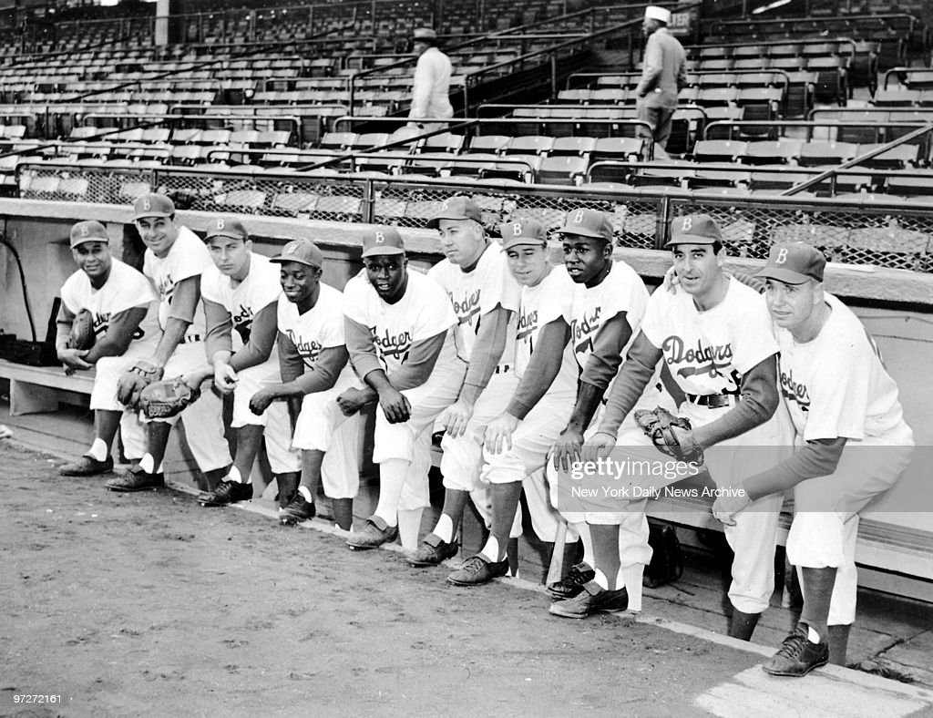 The Brooklyn Dodgers' starting lineup is ready to take on the New York Yankees in the World Series at Ebbets Field: Roy Campanella, Carl Furillo, Gil Hodges, Sandy Amoros, <a gi-track='captionPersonalityLinkClicked' href=/galleries/search?phrase=Jackie+Robinson&family=editorial&specificpeople=93570 ng-click='$event.stopPropagation()'>Jackie Robinson</a>, Duke Snider, Pee Wee Reese, Jim Gilliam, Sal Maglie, and manager Walter Alston (l. to r.).