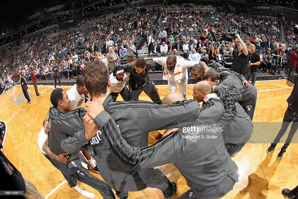 The Brooklyn Nets huddle before the game against the Detroit Pistons on April 17, 2013 at the Barclays Center in the Brooklyn borough of New York City.