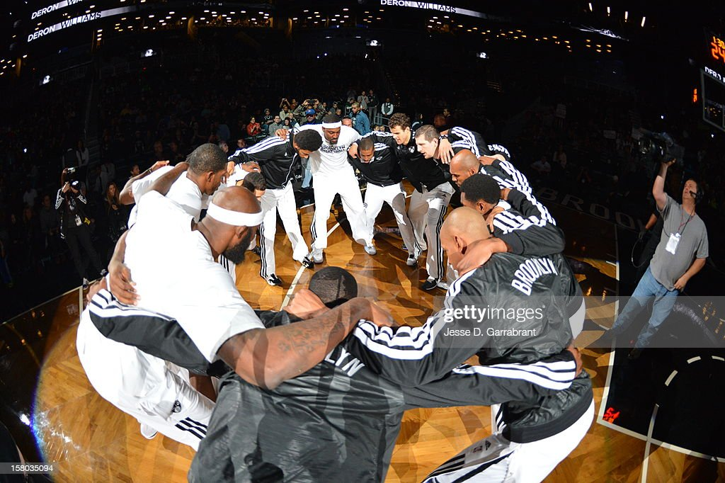 The Brooklyn Nets huddle before the game against the Milwaukee Bucks at the Barclays Center on December 9, 2012 in Brooklyn, New York.