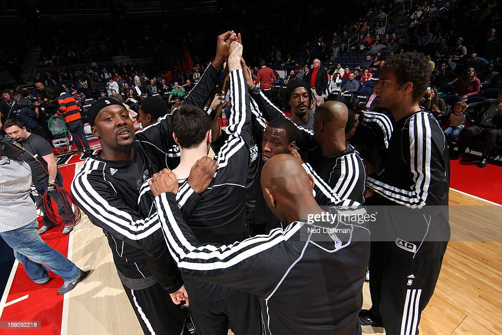 The Brooklyn Nets huddle before the game against the Washington Wizards on January 4, 2013 at the Verizon Center in Washington, DC.