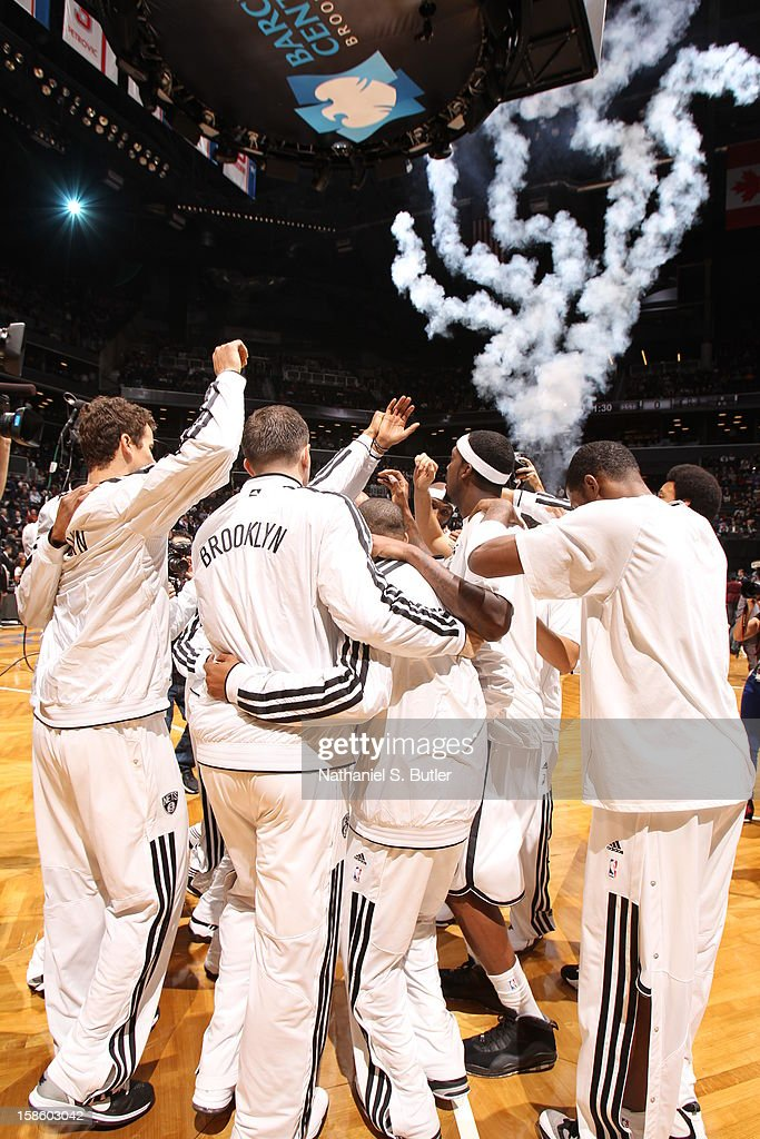 The Brooklyn Nets huddle up before the game against the New York Knicks on December 11, 2012 at the Barclays Center in the Brooklyn borough of New York City.