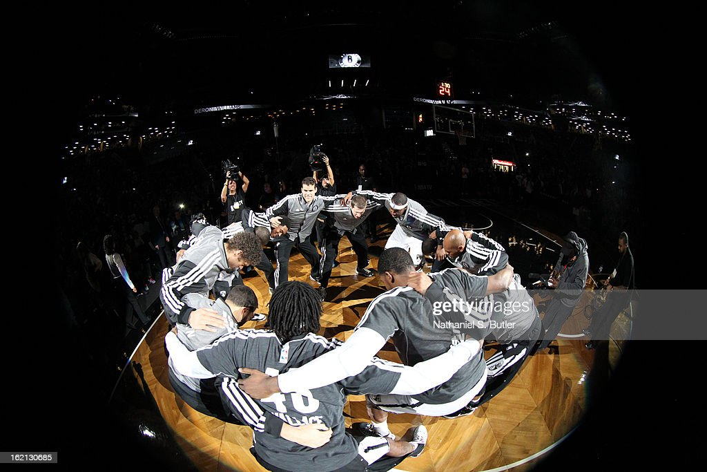 The Brooklyn Nets huddle up before the game against the San Antonio Spurs on February 10, 2013 at the Barclays Center in the Brooklyn borough of New York City.