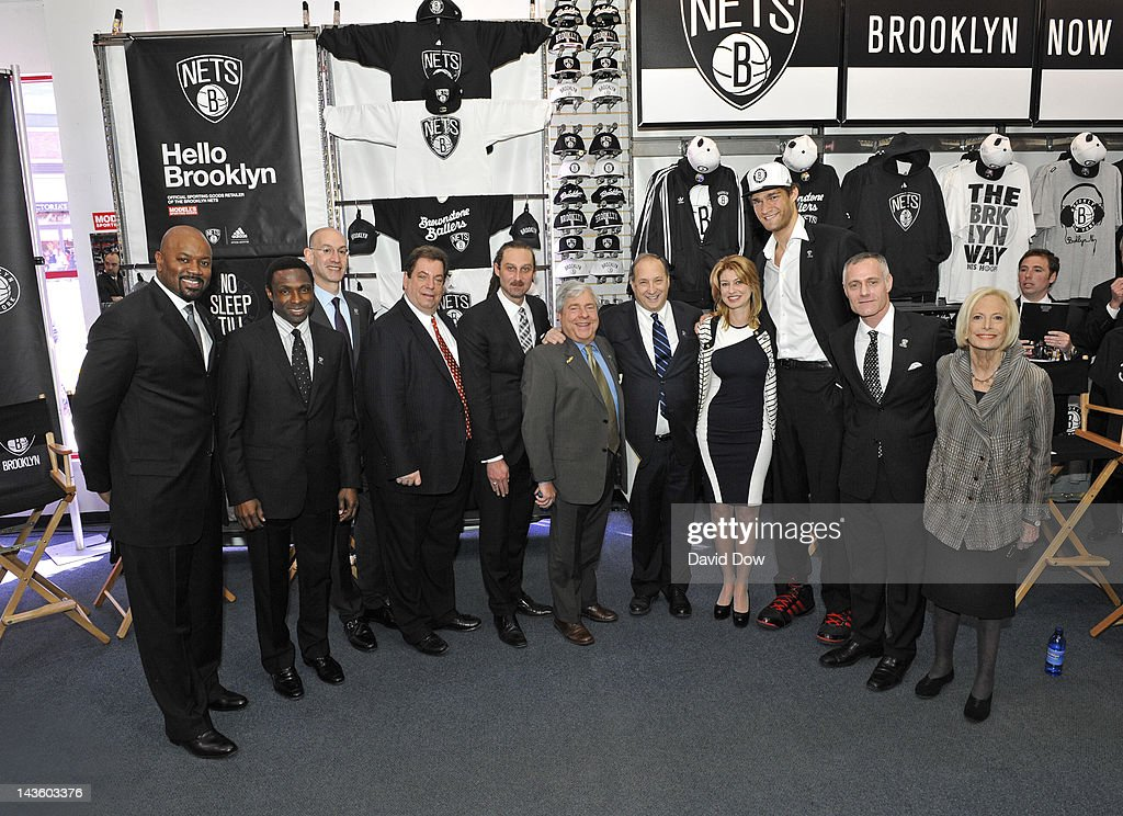The Brooklyn Nets poses for a photo during the unveiling of the new logo of the Brooklyn Nets at a press conference on April 30, 2012 at a Modell's Store in Brooklyn, New York.