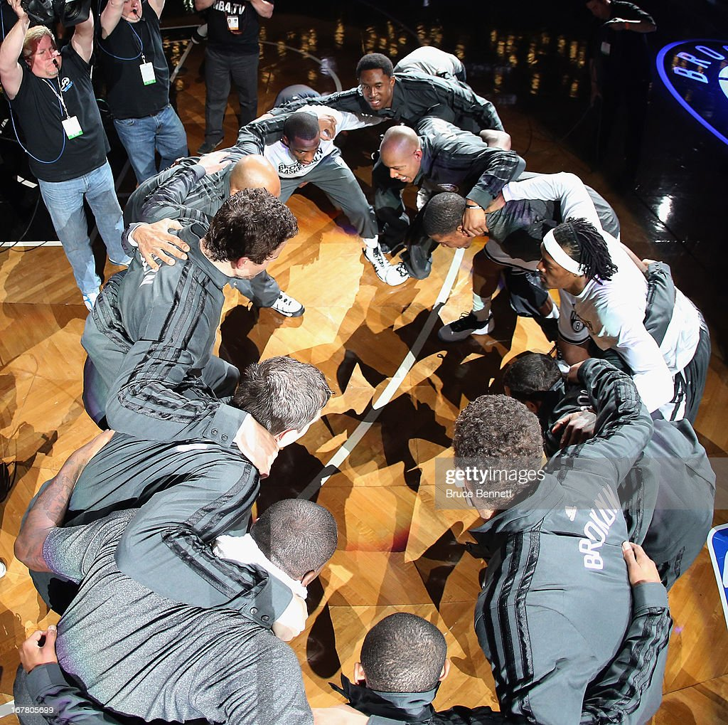 The Brooklyn Nets prepare for their game against the Chicago Bulls during Game Five of the Eastern Conference Quarterfinals of the 2013 NBA Playoffs at the Barclays Center on April 29, 2013 in New York City.