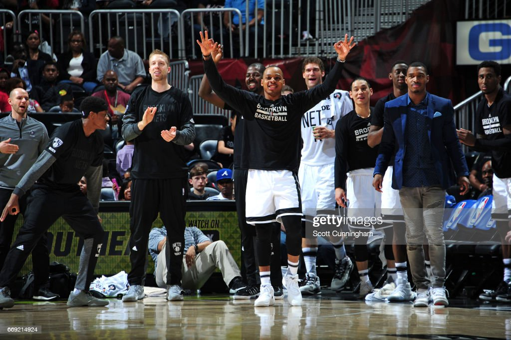 The Brooklyn Nets react during the game against the Atlanta Hawks on March 26, 2017 at Philips Arena in Atlanta, Georgia.