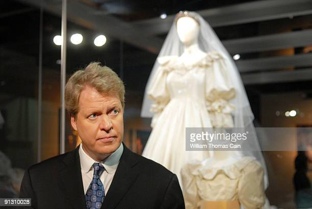 The brother of the late Princess Diana Charles Spencer poses at a preview of the traveling 'Diana A Celebration' exhibit at the National Constitution...