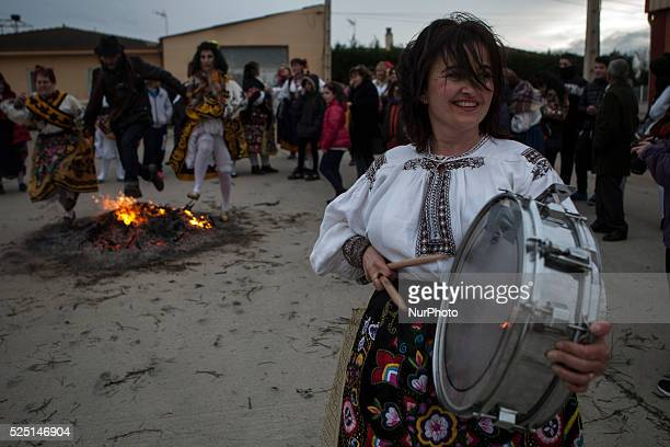 The brotherhood of Santa ��gueda on 6 February 2016 in Andav��as complied with tradition of quotSalto del Piornoquot The women dressed with the...