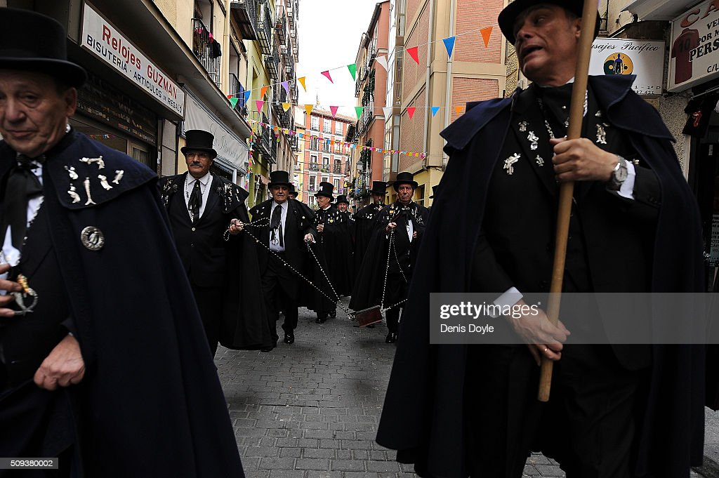 The Brotherhood of the ''Burial of the Sardine'' carry a coffin containing an artificial sardine during the Burial of the Sardine procession on February 10, 2016 in Madrid, Spain. The Sardine procession is a centuries-old Spanish tradition made famous by a painting by Spanish artist Francisco de Goya called 'El Entierro de La Sardina'. The mourners hold a mock funeral procession mourning the end of Carnival through the heart of old 'Castizo' Madrid visiting and enjoying the wines and tapas of local taverns.