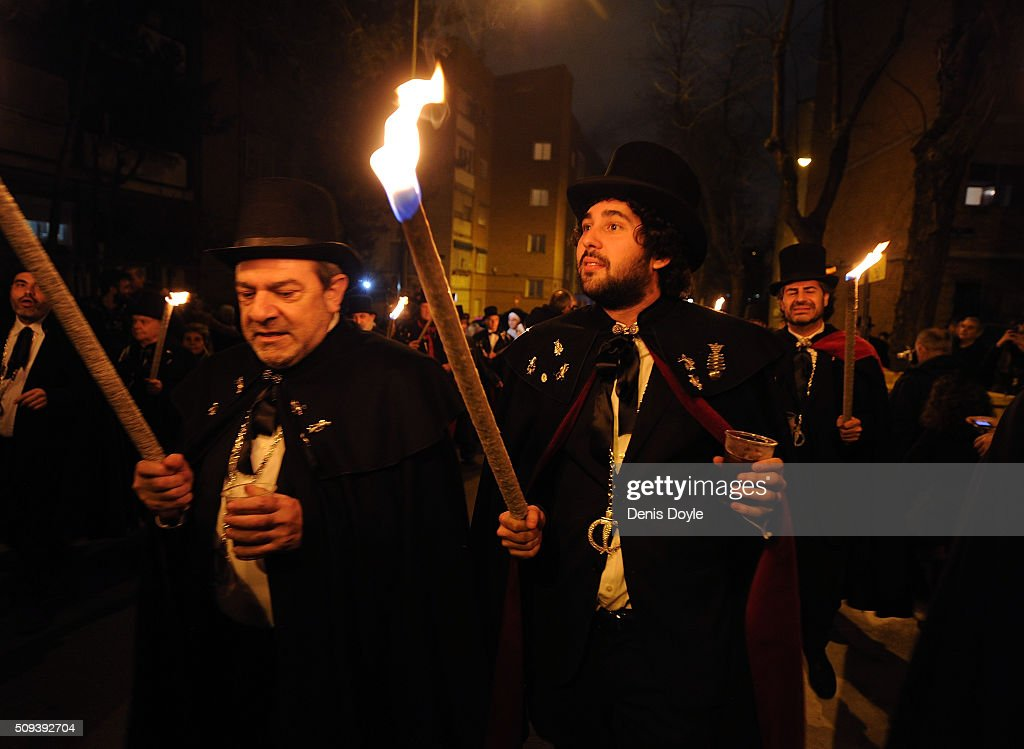 The Brotherhood of the ''Burial of the Sardine'' carry torches during the Burial of the Sardine procession on February 10, 2016 in Madrid, Spain. The Sardine procession is a centuries-old Spanish tradition made famous by a painting by Spanish artist Francisco de Goya called 'El Entierro de La Sardina'. The mourners hold a mock funeral procession mourning the end of Carnival through the heart of old 'Castizo' Madrid visiting and enjoying the wines and tapas of local taverns.
