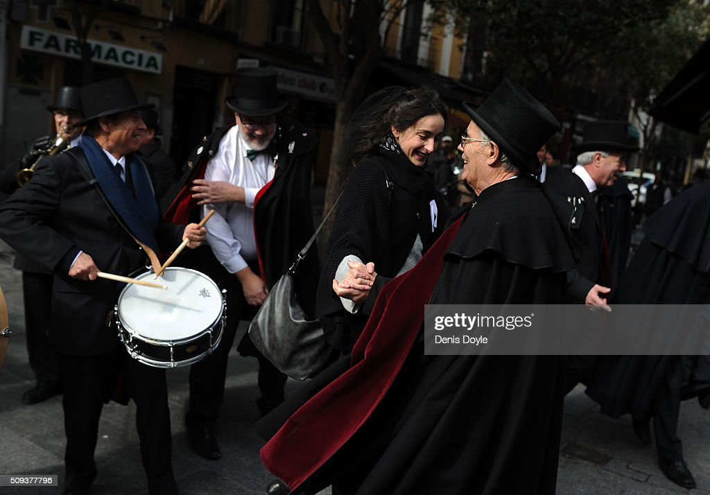 The Brotherhood of the ''Burial of the Sardine'' dance during the Burial of the Sardine procession on February 10, 2016 in Madrid, Spain. The Sardine procession is a centuries-old Spanish tradition made famous by a painting by Spanish artist Francisco de Goya called 'El Entierro de La Sardina'. The mourners hold a mock funeral procession mourning the end of Carnival through the heart of old 'Castizo' Madrid visiting and enjoying the wines and tapas of local taverns.