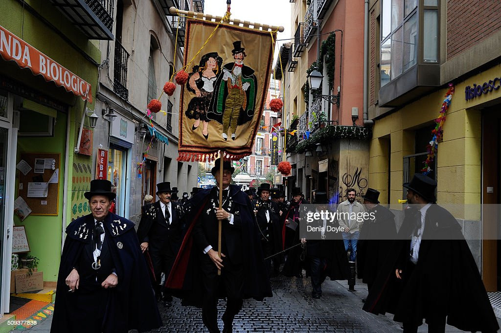 The Brotherhood of the ''Burial of the Sardine'' march through old Madrid during the Burial of the Sardine procession on February 10, 2016 in Madrid, Spain. The Sardine procession is a centuries-old Spanish tradition made famous by a painting by Spanish artist Francisco de Goya called 'El Entierro de La Sardina'. The mourners hold a mock funeral procession mourning the end of Carnival through the heart of old 'Castizo' Madrid visiting and enjoying the wines and tapas of local taverns.
