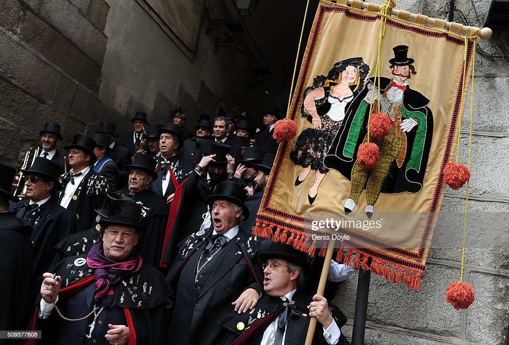 The Brotherhood of the ''Burial of the Sardine'' past by El Arco de Cuchilleros during the Burial of the Sardine procession on February 10, 2016 in Madrid, Spain. The Sardine procession is a centuries-old Spanish tradition made famous by a painting by Spanish artist Francisco de Goya called 'El Entierro de La Sardina'. The mourners hold a mock funeral procession mourning the end of Carnival through the heart of old 'Castizo' Madrid visiting and enjoying the wines and tapas of local taverns.