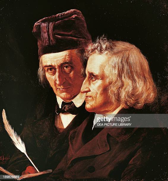 The brothers Jacob and Wilhelm Grimm German linguists Painted in 1855 by Elisabeth JerichauBaumann Berlin Alte Nationalgalerie