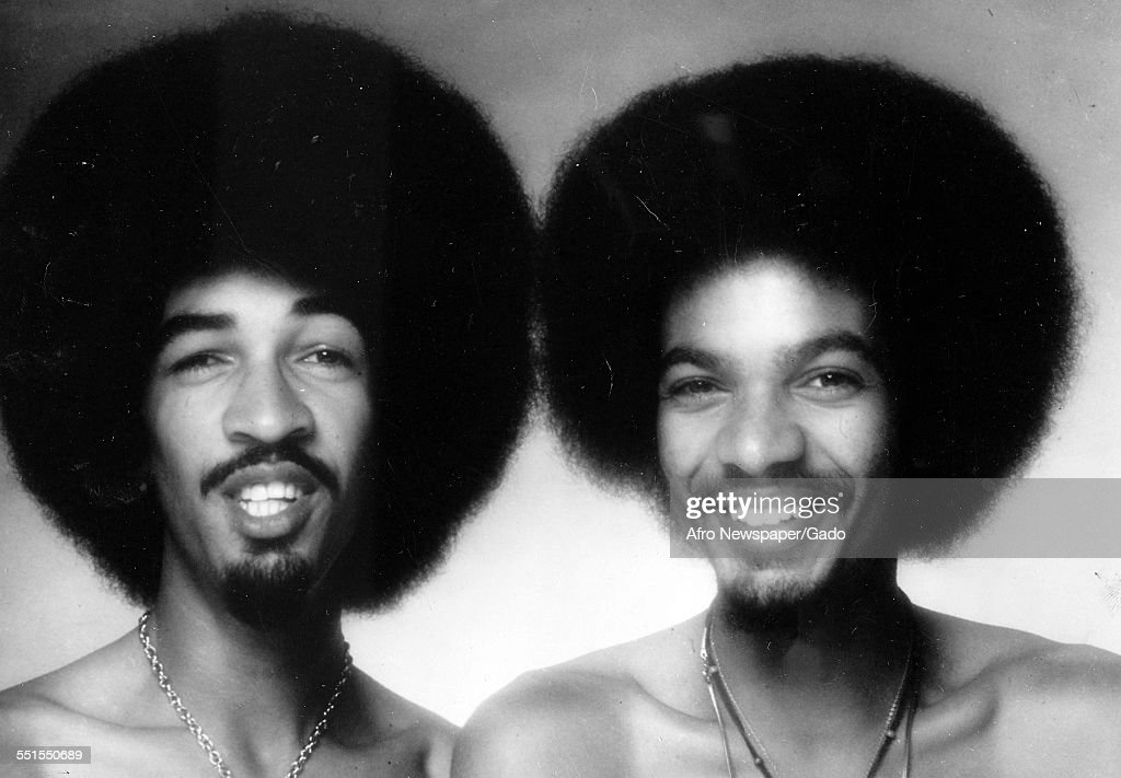 The Brothers Johnson, an American funk and R&B band consisting of American musicians and brothers George Lightnin Licks and Louis E Johnson, Thunder Thumbs on stage, June 22, 1976.