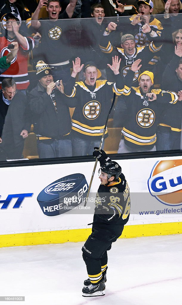 The Bruins' Brad Marchand sent the crowd into a frenzy after he beat New Jersey goalie John Hedberg, not pictured, in the shootout, and after Tuukka Rask, not pictured, made one more stop, the Bruins had the victory. The Boston Bruins hosted the New Jersey Devils in an NHL regular season game at the TD Garden.