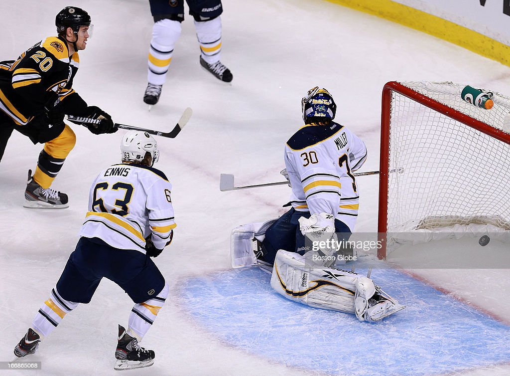 The Bruins Daniel Paille beats Sabres goalie Ryan Miller to put Boston ahead 1-0 in the first period. The Boston Bruins hosted the Buffalo Sabres in a regular season NHL game at TD Garden.