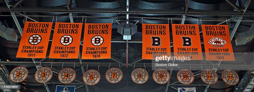 The Bruins' Stanley Cup banners in the rafters. The Boston Bruins hosted the Chicago Blackhawks for Game Four of the Stanley Cup Finals at the TD Garden, June 19, 2013.