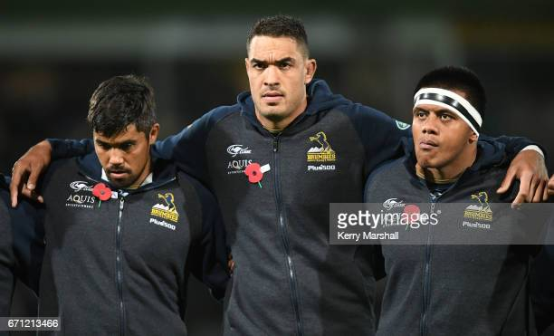 The Brumbies line up for an ANZAC tribute before the round nine Super Rugby match between the Hurricanes and the Brumbies at McLean Park on April 21...