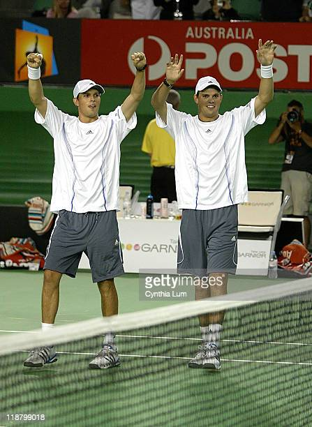 The Bryan Brothers Bob and Mike win Australian Open 2007 doubles title defeating Max Mirnyi of Bulgaria and Jonas Bjorkman of Sweden in the final in...