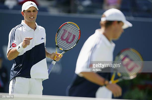 The Bryan Brothers celebrate a point during the US Open on September 5 2003 at the USTA National Tennis Center in Flushing New York Bob Bryan and...