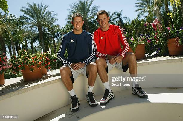The Bryan Brothers during an adidas photoshoot in Indian Wells California in the USA on the 7th10th March 2004
