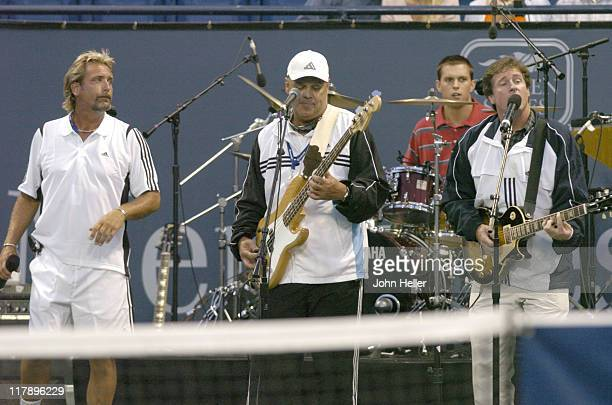 The Bryan Brothers warm up the audience at the Gibson/Baldwin 'Night At The Net' Chairty Event at the Los Angeles Tennis Centers Straus Stadium at...