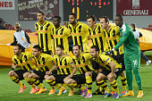The BSC Young Boys players pose for a team photo before the UEFA Europa League Group I match between AC Sparta Praha and BSC Young Boys at the...