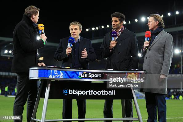 The BT Sport pitchside television team consisting of presenter Jake Humphrey and pundits Phil Neville David James and Steve McManaman seen prior to...