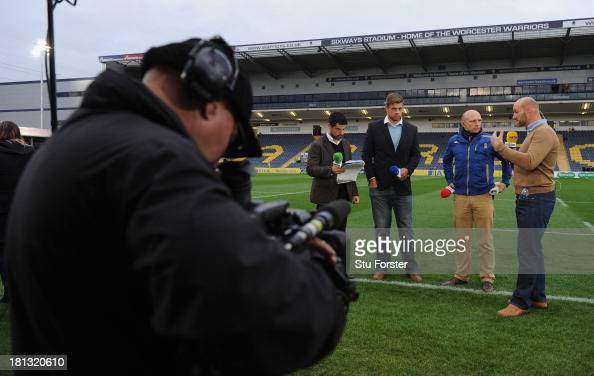 The BT television pundits speak before the Aviva Premiership match between Worcester Warriors and Harlequins at Sixways Stadium on September 20 2013...
