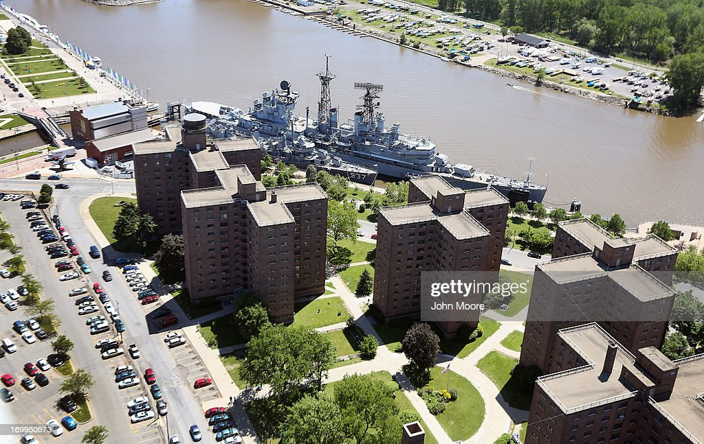 The Buffalo and Erie County Naval and Military Park stradles a housing project on June 4, 2013 in Buffalo, New York, near the U.S.-Canada border. The aerial view was seen from a helicopter flown by the U.S. Office of Air and Marine, (OAM), which monitors and patrols the U.S.-Canada border.