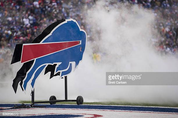 The Buffalo Bills logo stands amidst smoke from pregame pyrotechnics before the game against the Miami Dolphins on December 24 2016 at New Era Field...