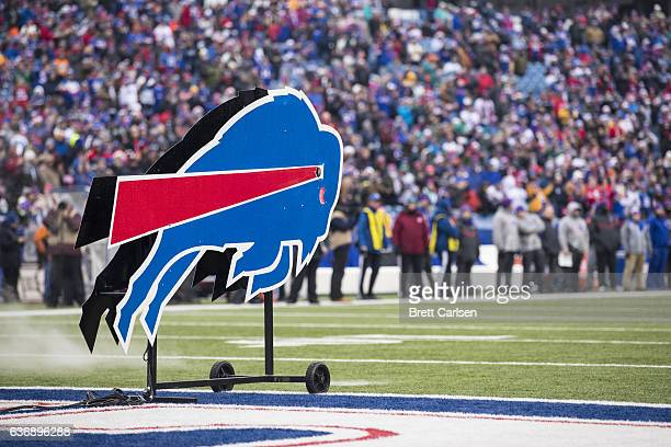 The Buffalo Bills logo stands on the field before the game against the Miami Dolphins on December 24 2016 at New Era Field in Orchard Park New York...